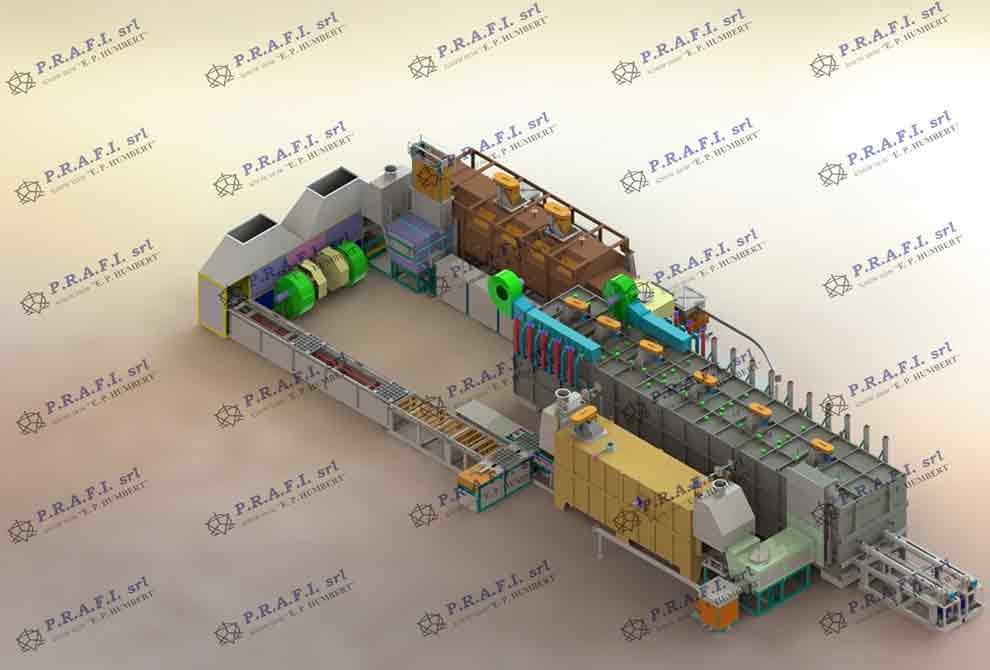 Continuous push furnaces for bluing PRAFI